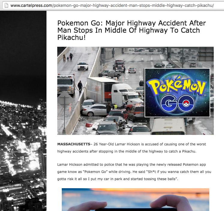 Pokemon Go Highway Accident