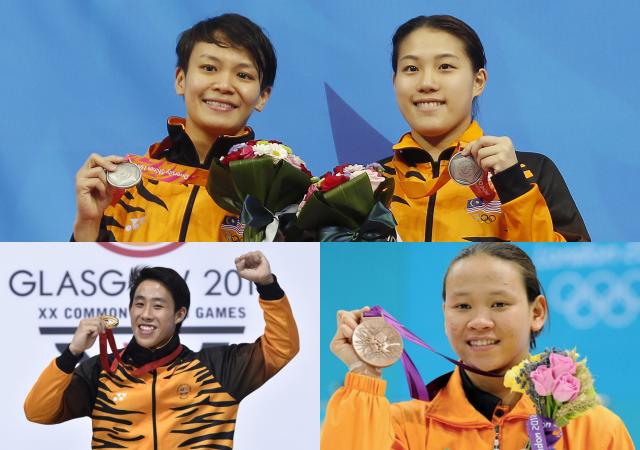Ng Yan Yee and Cheong Jun Hoong (top), Ooi Tze Liang (bottom left), and Pandelela Rinong (bottom right)
