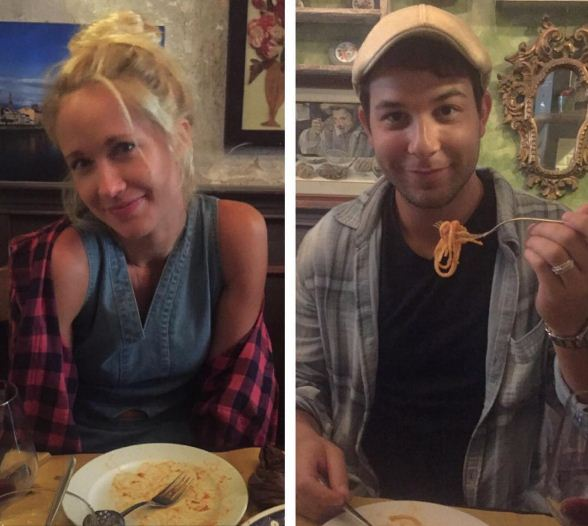 Anna Camp and Skylar Astin