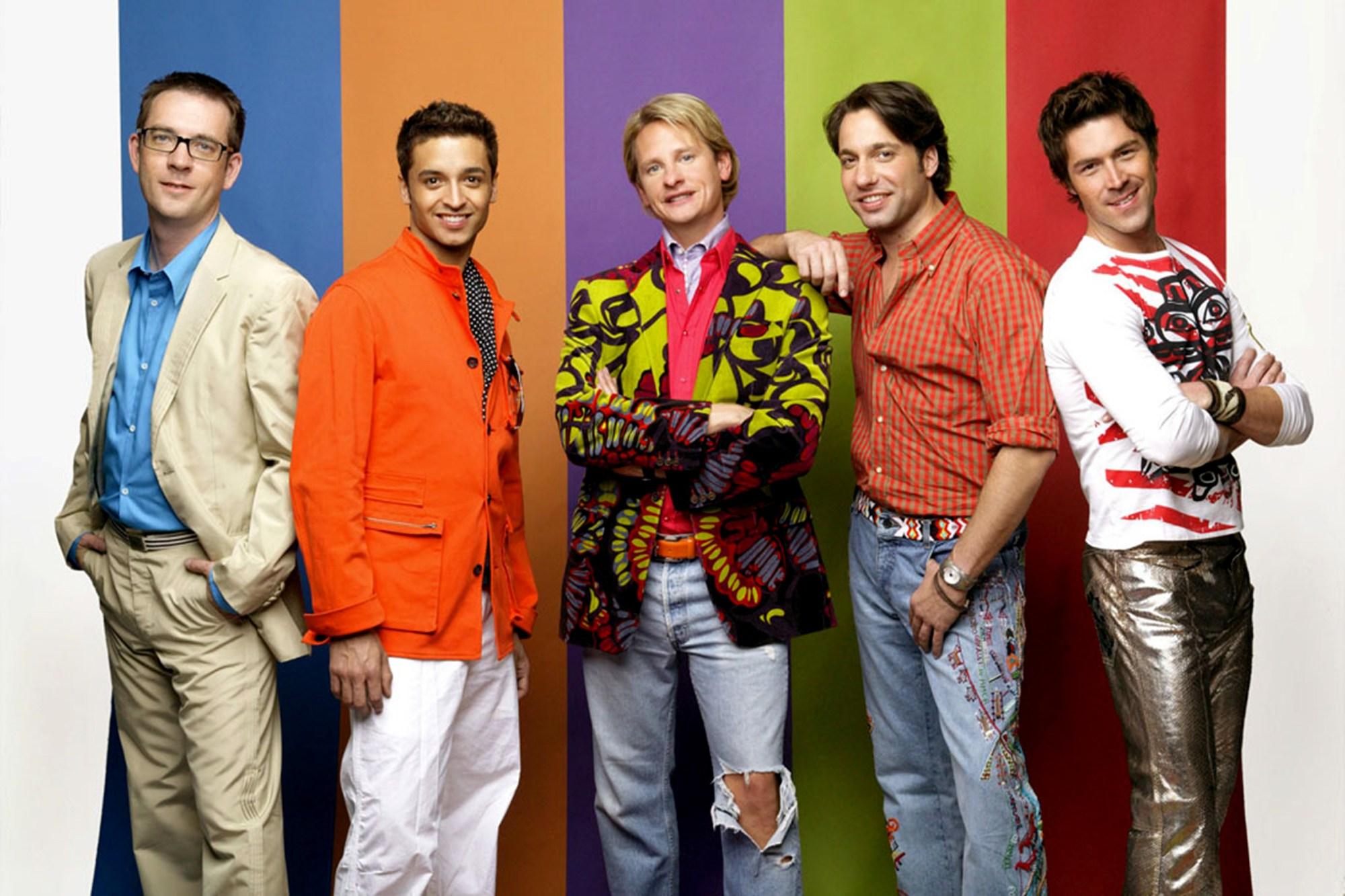 "Ted Allen, Jai Rodriguez, Carson Kressley, Thom Filicia, and Kyan Douglas in ""Queer Eye."""