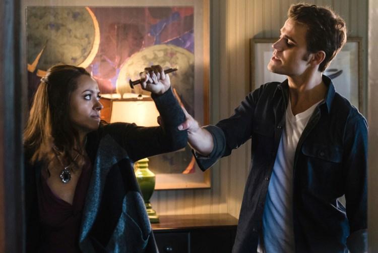 Kat Graham as Bonnie and Paul Wesley as Stefan