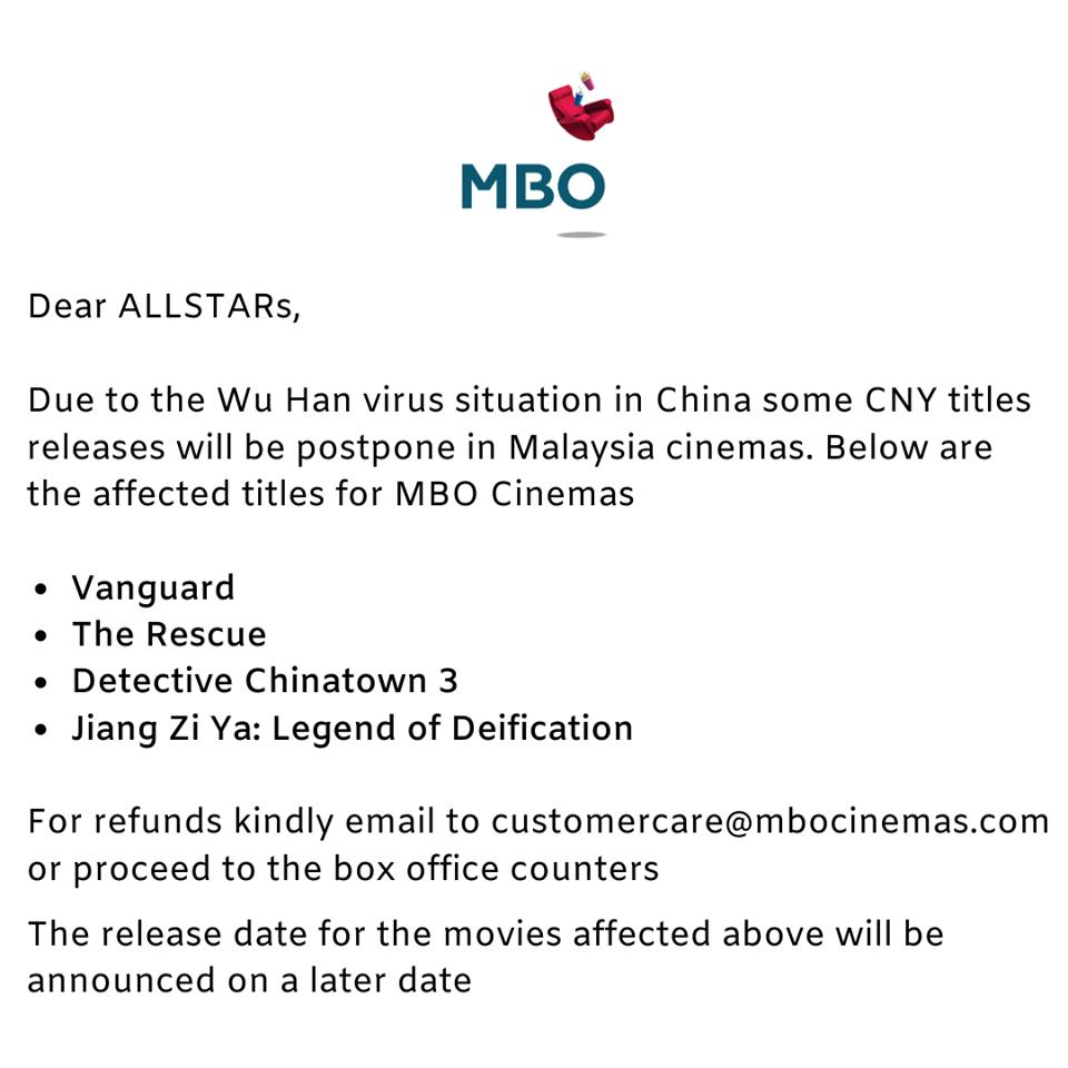4 New Cny Films Have Been Postponed Due To China S Coronavirus